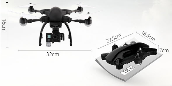 Simtoo Dragonfly Drone Pro - dimensioni